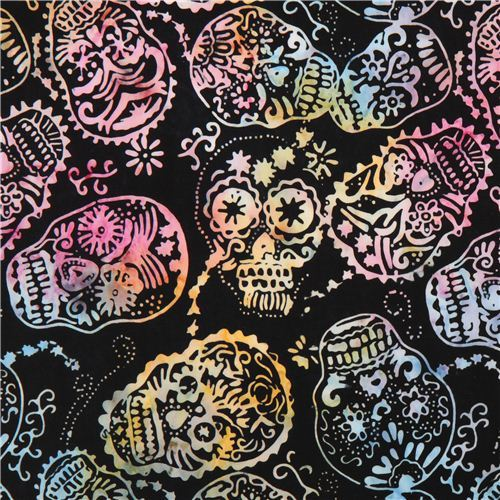 black skull fabric by Timeless Treasures Sugar Skulls