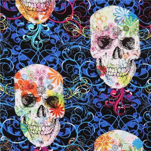 Flourish Skull flower fabric by Timeless Treasures