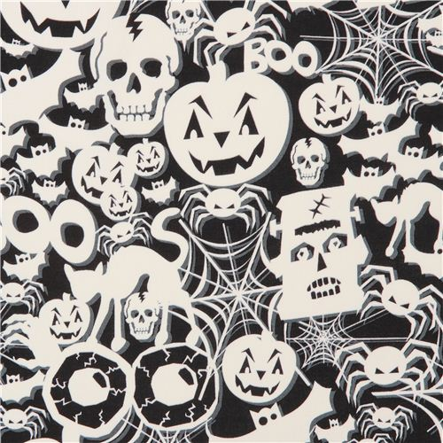 black white glow in the dark Halloween fabric Timeless Treasure