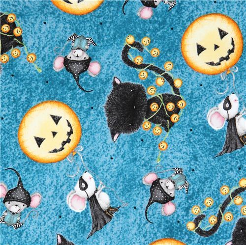 blue pumpkin mouse Halloween fabric Charmed by Quilting Treasures