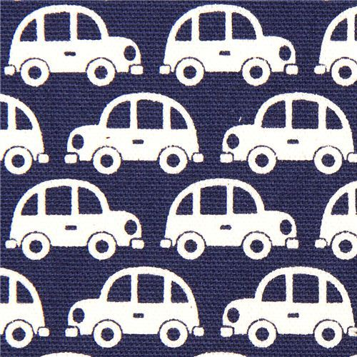 funny white cars fabric for boys by Kokka Japan