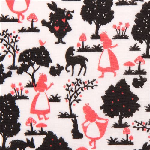 lightweight white Alice in Wonderland Kokka gauze fabric