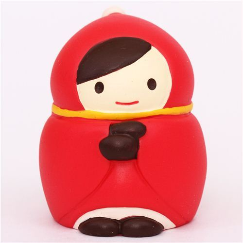 bundled-up Little Red Riding Hood Christmas figurine Japan
