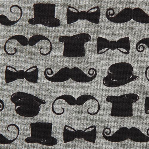grey mustache and tophat fabric by Andover USA
