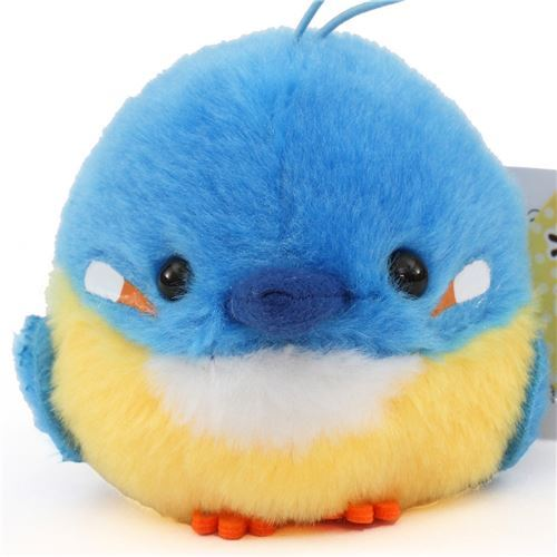 cute small blue yellow bird plush toy from Japan
