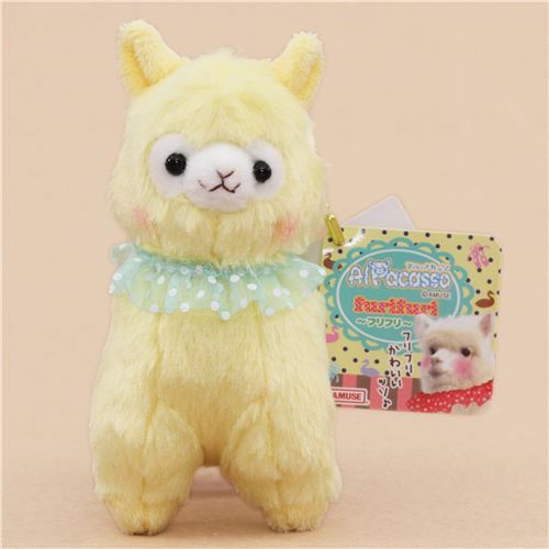cute yellow alpaca turquoise collar plush toy from Japan