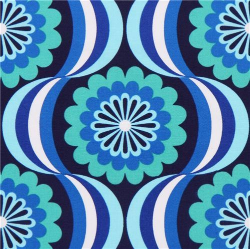retro flower canvas fabric blue Robert Kaufman