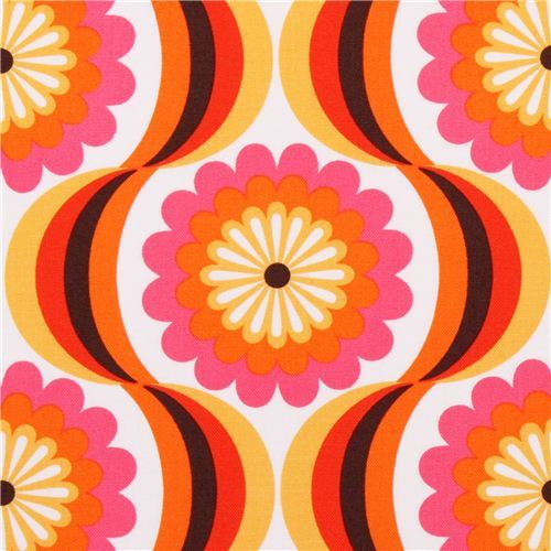 retro flower canvas fabric orange Robert Kaufman