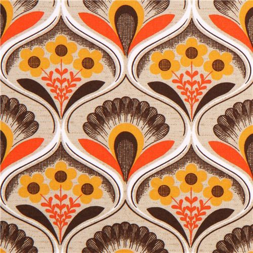 retro flower wallpaper canvas fabric brown Robert Kaufman