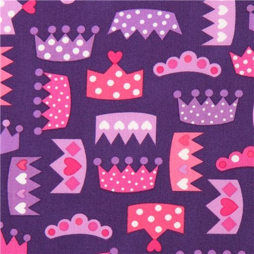 purple princess crown coronet fabric by Robert Kaufman USA
