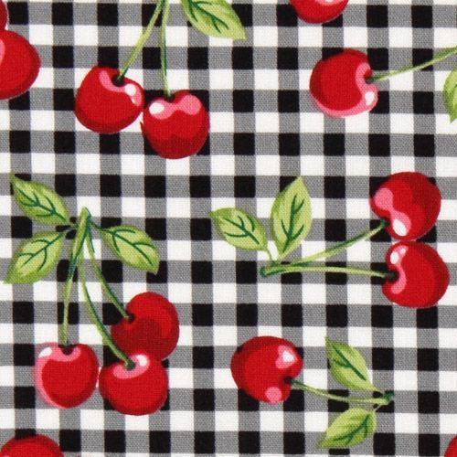 black checkered cherry fabric Robert Kaufman