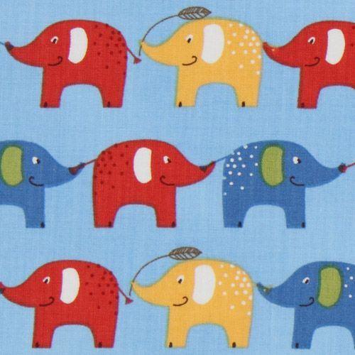 blue elephants fabric Robert Kaufman USA designer