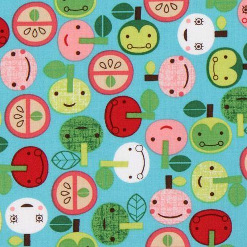 blue kawaii apple fabric with faces Robert Kaufman
