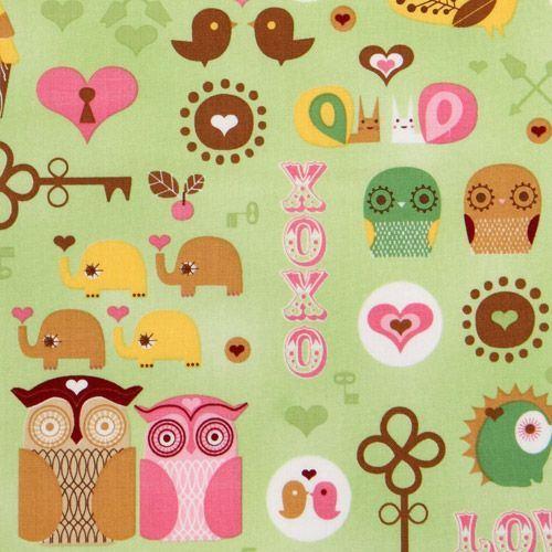 green kawaii owls fabric with hedgehog birdie elephant
