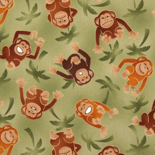 green monkeys fabric with palm trees Robert Kaufman