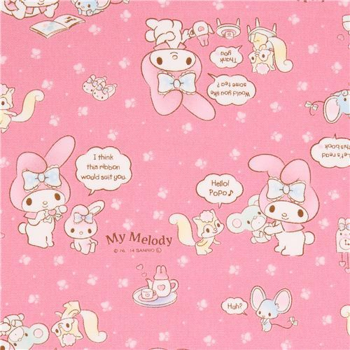 pink My Melody bunny tea plush toy Sanrio oxford fabric from Japan