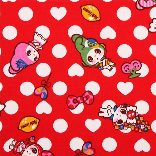 red polka dot My Melody bunny Sanrio oxford fabric from Japan