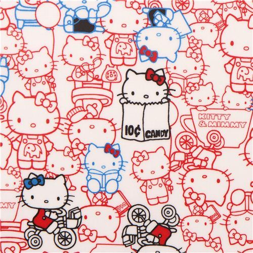 white Hello Kitty Kitty and Mimmy Sanrio laminate fabric from Japan