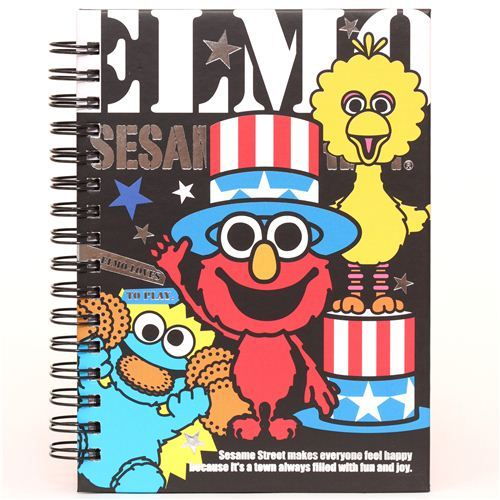 black Sesame Street USA Elmo ring binder notebook
