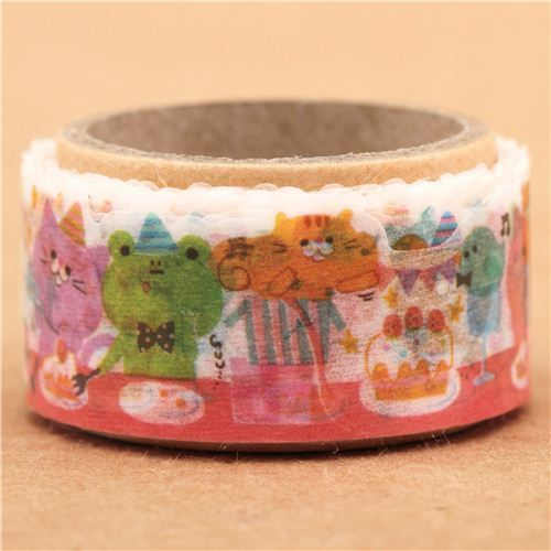 cute milk glass transparent animal birthday deco tape sticky tape by Q-Lia