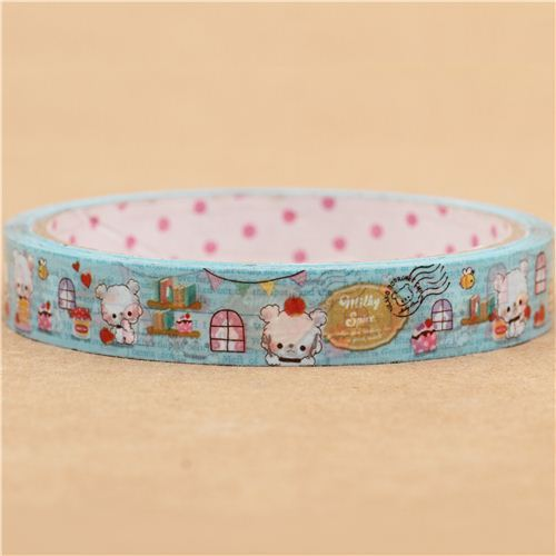 sky blue kawaii bear birthday animal deco tape sticky tape by Q-Lia