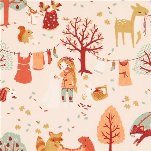 Laundry Day forest animal laundry girl autumn birch organic fabric from the USA