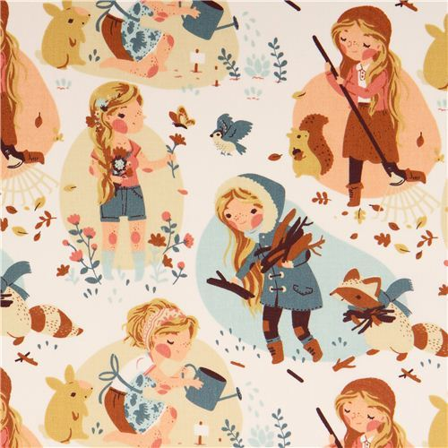 Penny's Seasons forest animal girl seasons birch organic fabric from the USA