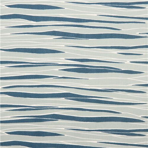 blue River View water pattern poplin organic fabric birch USA