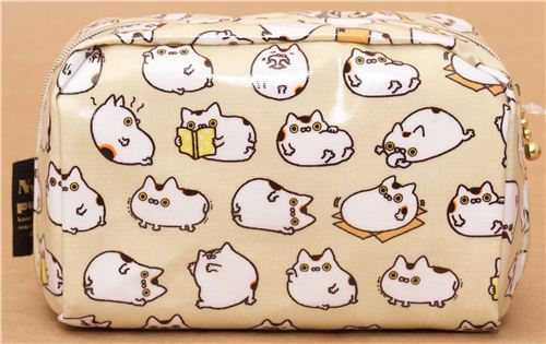 kawaii beige Nyanpuku fortune cat pouch from San-X