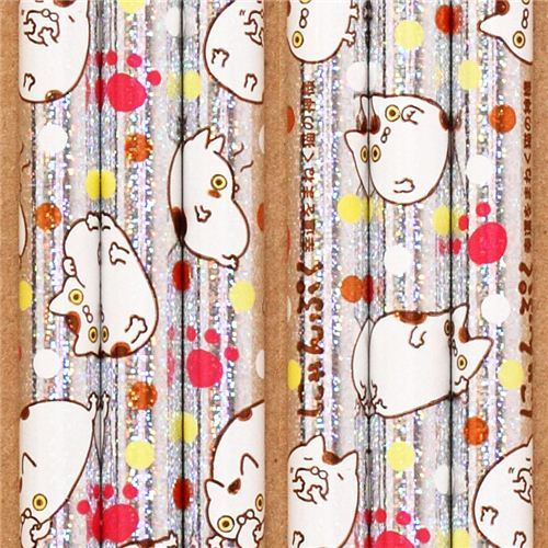 silver Nyanpuku glitter pencil fortune cat polka dot