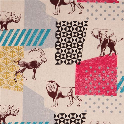 natural-colored echino zon canvas fabric pattern safari animals from Japan