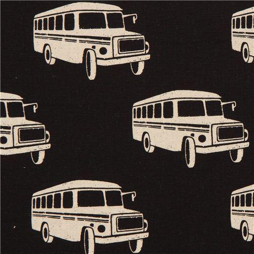 black echino retro bus poplin fabric bonnet bus