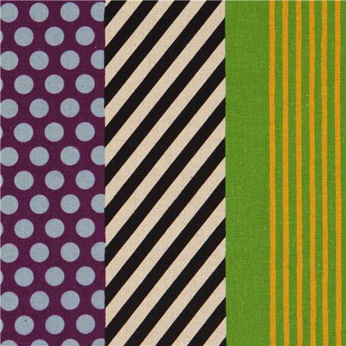 echino poplin stripes fabric kikka purple-black-green