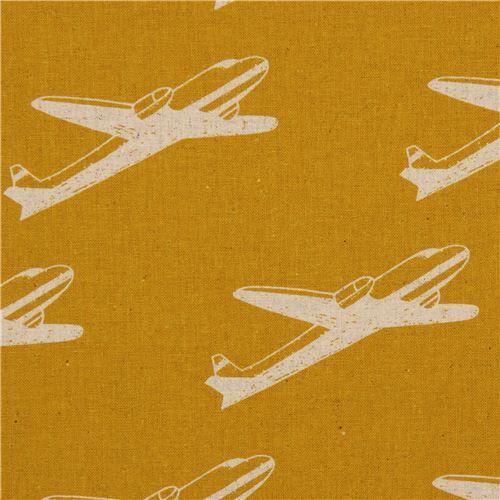 yellow echino airplane poplin fabric airplane