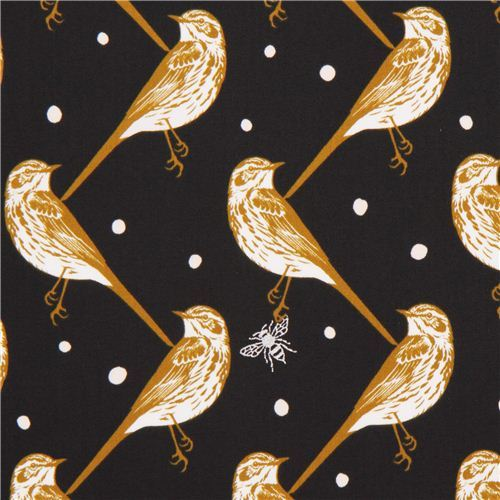 black atori bird echino Decoro cotton sateen fabric