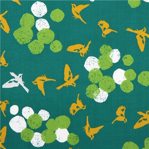 green soaring bird echino Decoro cotton sateen fabric