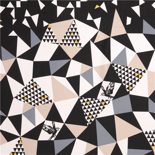 mountain black triangle echino Decoro cotton sateen fabric