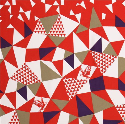 mountain red triangle echino Decoro cotton sateen fabric