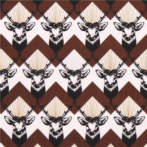 stag Chevron brown echino Decoro cotton sateen fabric