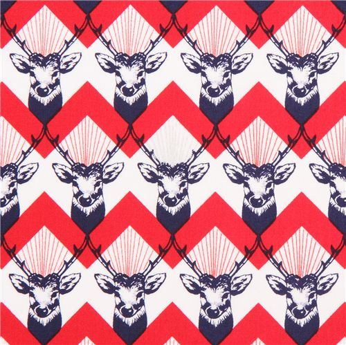 stag Chevron red echino Decoro cotton sateen fabric