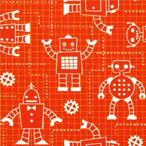 orange organic fabric with robots by Robert Kaufman