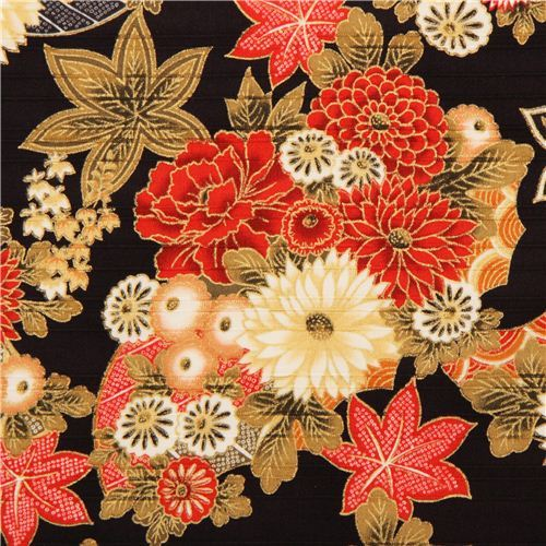 black structured cotton satin flower fabric Cosmo