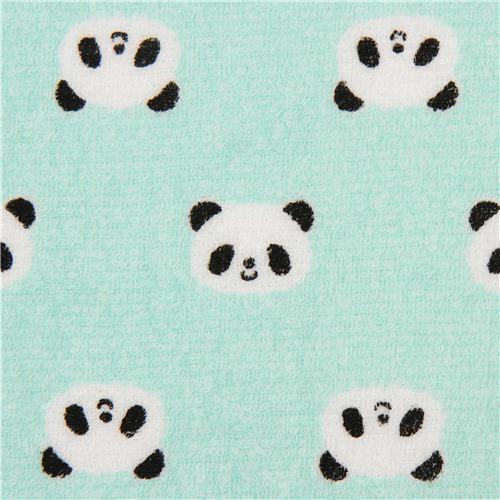 turquoise panda bear toweling fabric Cosmo Japan