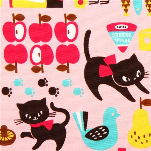 pink cat oxford fabric Cosmo Japan apple food cow
