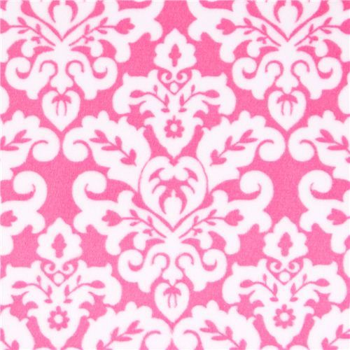 pink ornament minky fabric fleece plush Damask