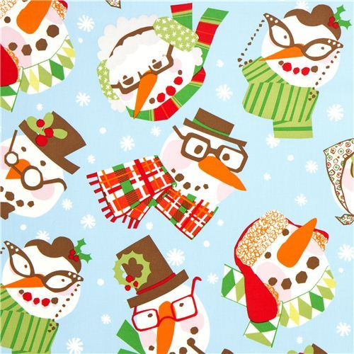light blue Alexander Henry Christmas fabric with snowman