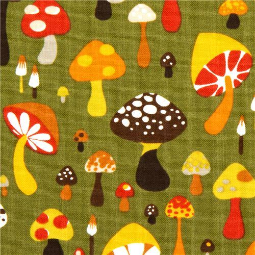 olive green Alexander Henry fabric with colourful mushrooms