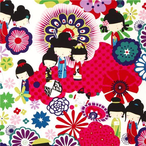 white Japanese Kokeshi doll fabric by Alexander Henry