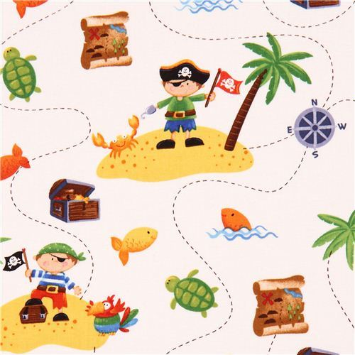 white pirate children fabric Ahoy Matie Northcott Studio
