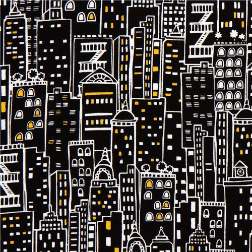 black designer fabric with city skyscraper New York